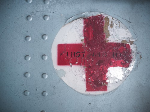 BANGKOK THAILAND - 8 NOVEMBER 2014:Red cross sign on military aircraft. The American Red Cross is part of the world's largest humanitarian network with 13 million volunteers in 187 countries.