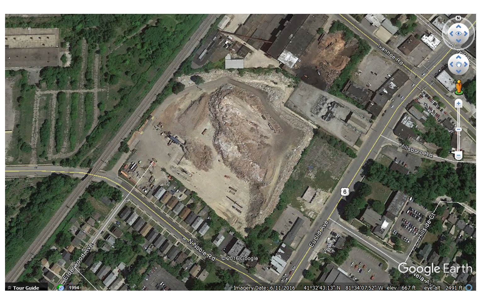 Google Earth view of 1705 Noble Road.