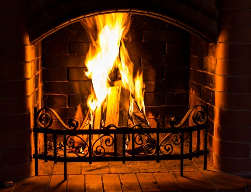 Great Home Fire burning in the fireplace. Seasonal and holiday fire